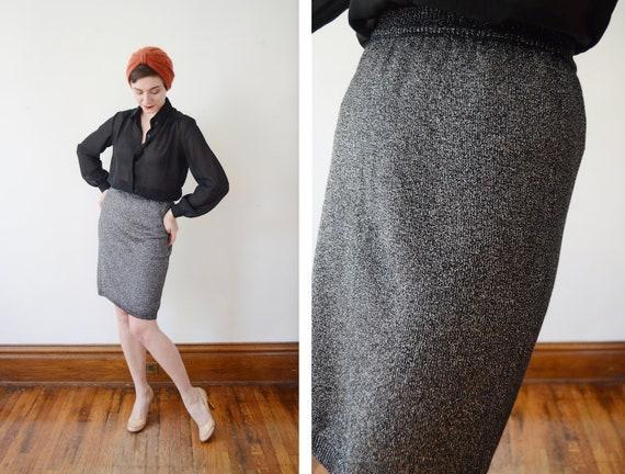Deadstock 1980s Silver Knit Pencil Skirt - S/M