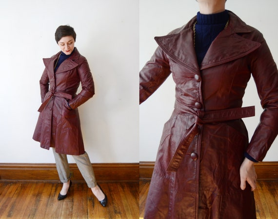1970s Burgundy Leather Jacket - S