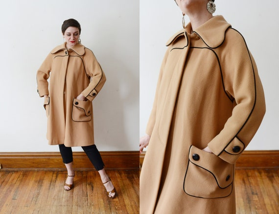 1960s Mod Tan And Black Coat - M