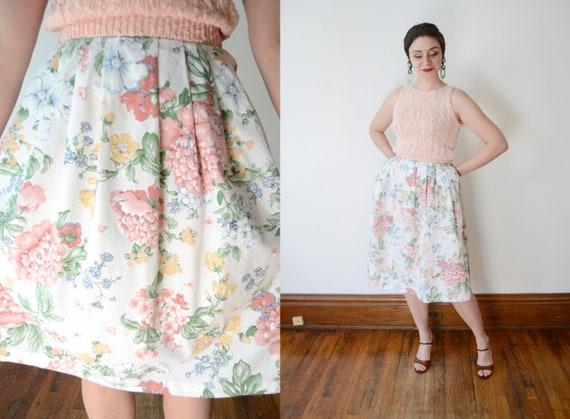 1970s Floral Cotton Skirt - M