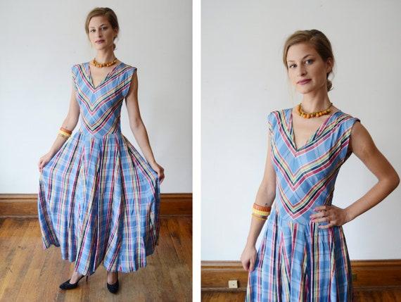 1940s Blue Plaid Midi Dress - XS