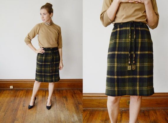 1960s Plaid Mini Skirt - S