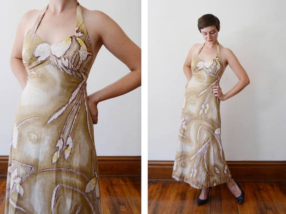 1970s Liberty House Batik Halter Dress - XS
