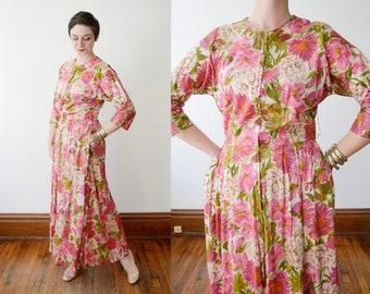 1960s Nylon Floral Housedress - M/L