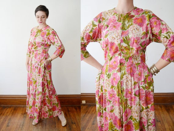 1960s Nylon Floral Housedress - M/L