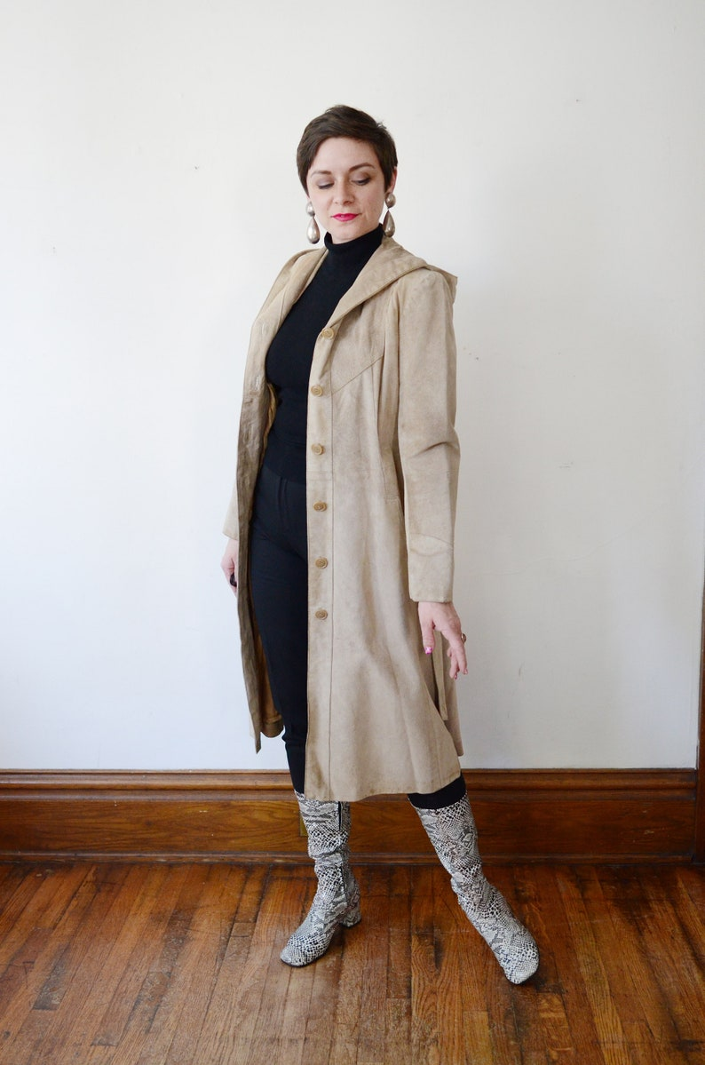 XSS 1970s Tan Leather Hooded Trench Coat
