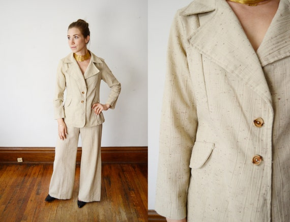 1970s Flare Pants and Matching Blazer - S