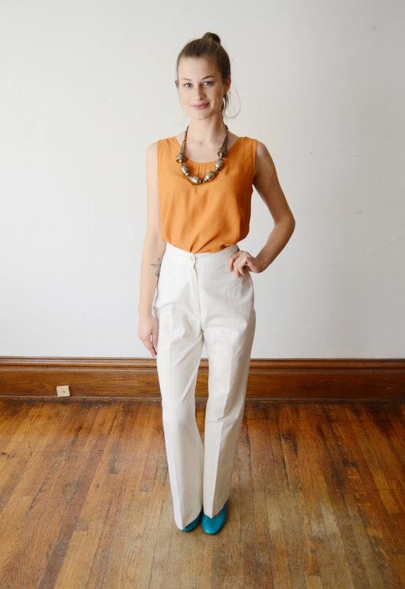 1970s Highwaist White Pants - S - image 4
