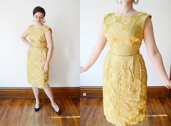 1960s Gold Rose Party Dress - S/M