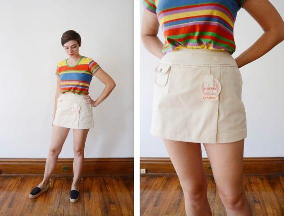 Deadstock Cream 1970s Cotton Shorts - S/M
