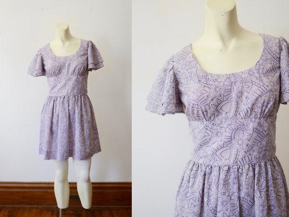 1970s Purple and White Mini Dress - S
