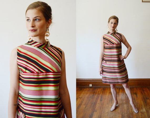 1960s Striped Mod Shiftdress - XS/S
