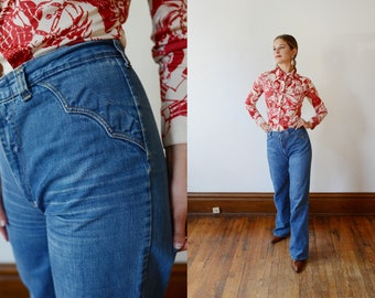 Distressed 1970s Western High Waisted Jeans - S