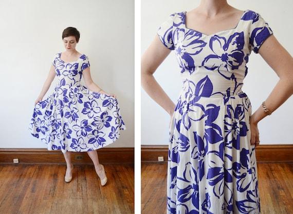 1950s Floral Hawaiian Dress by Bobbie Brooks - S/M
