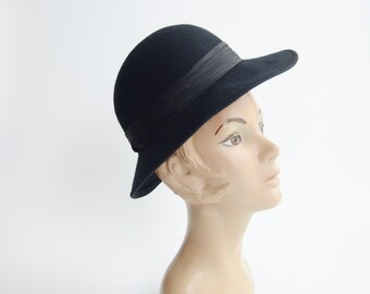 1970s Black Felted Wool Hat
