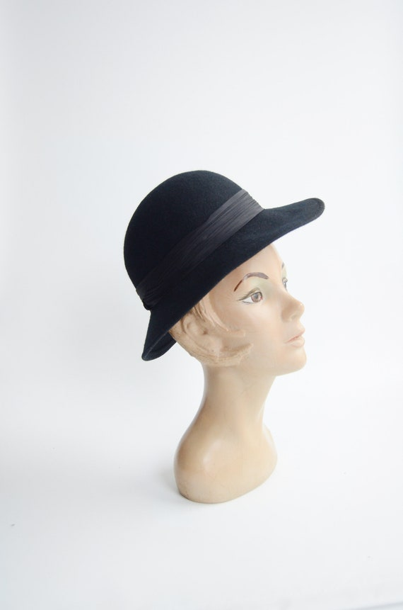 1970s Black Felted Wool Hat