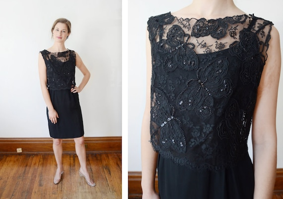1960s Black Cocktail Dress with Butterfly Lace Top - XS