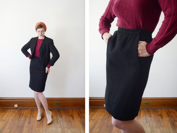 Late 50s Adele Simpson Black Boucle Wool Skirt Suit - S