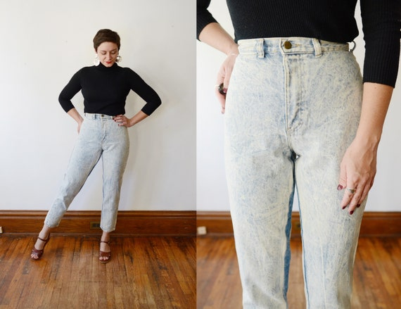 Deadstock 1980s Bleached High Waisted Denim - S