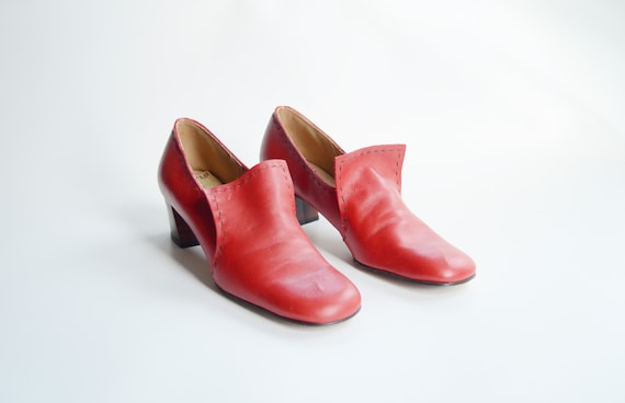 1960s Mod Red Leather Shoes US9N