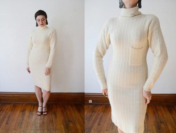 1980s Wool Ivory Sweaterdress - M