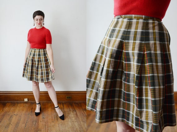 60s Bobbie Brooks Plaid Cotton Wrap Skirt - XS/S