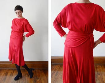 1980s Red Jersey Dress - M