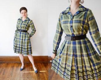 1960s Green Plaid Dress - M