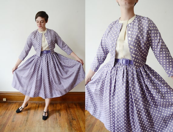 1950s Lavender Polka Dot Dress and Jacket - S