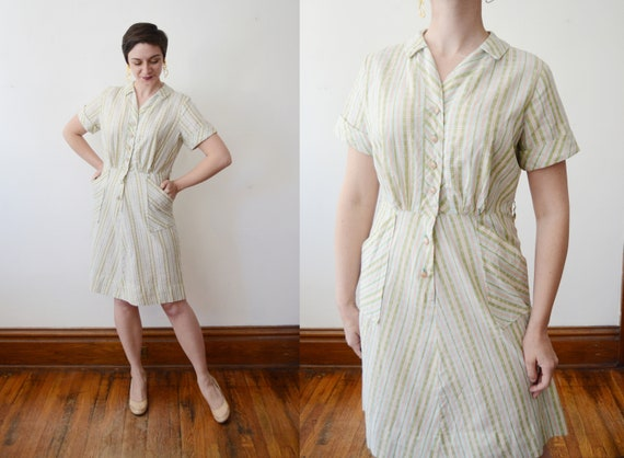 Cotton Striped Pastel Dress - S/M