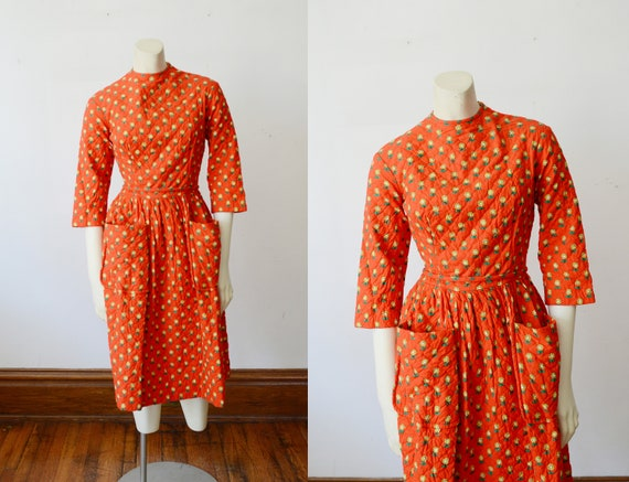1960s Red Quilted Lanz Dress - XS