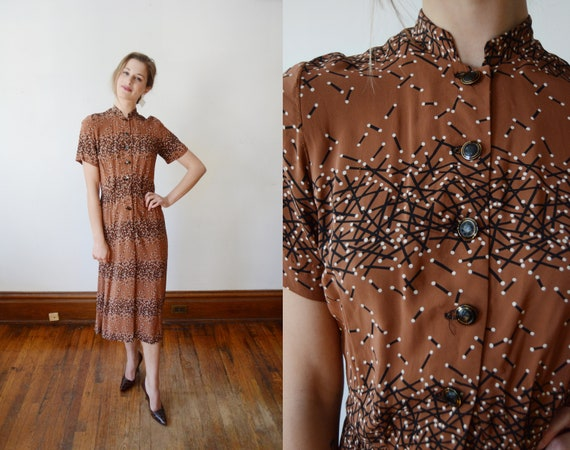 1940s Printed Rayon Dress - S