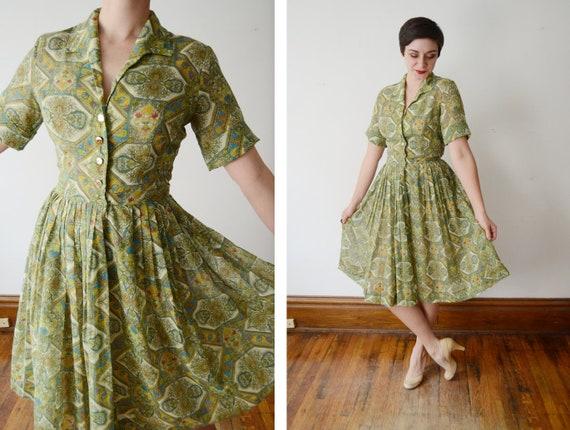 1950s Green Paisley Shirtwaist Dress - S/M