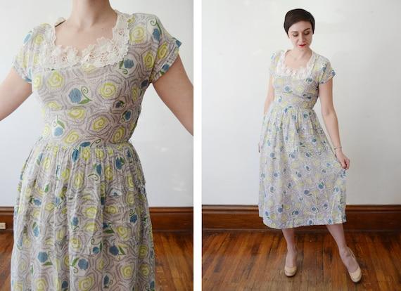 1940s Sheer Floral Dress - S/M