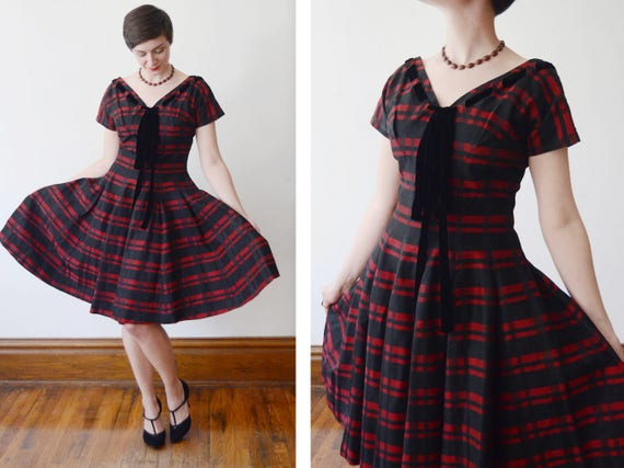 1950s Black And Red Striped Party Dress Sm Etsy