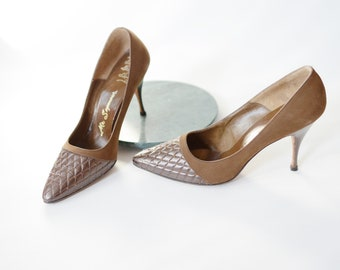 1950s Quilted Rhinestone Pumps - 7