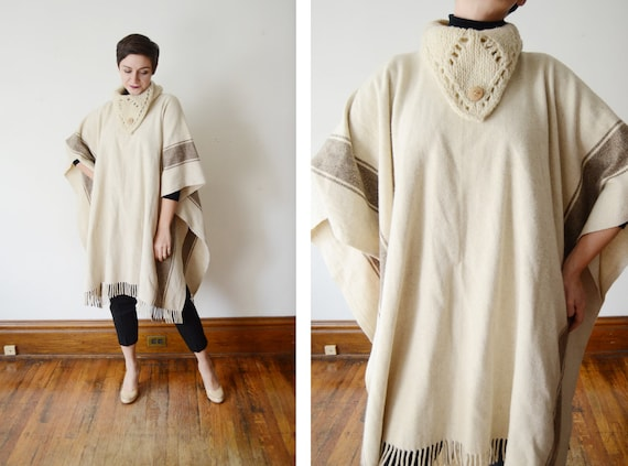 70s/80s Cream and Brown Wool Cape - OSFM