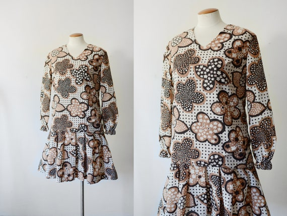 1960s Brown Floral Mini Dress - S