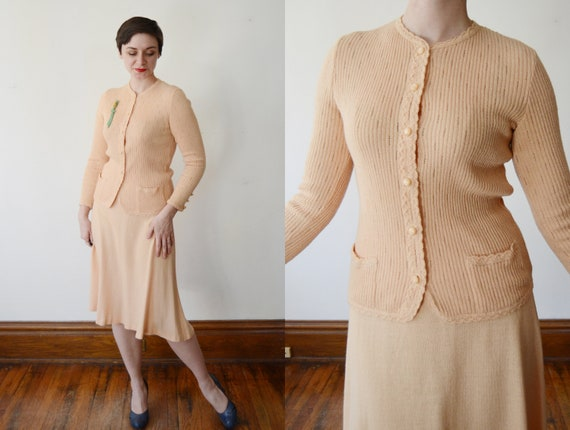 1970s Peach Knit Set / Cardigan and Skirt- S/M