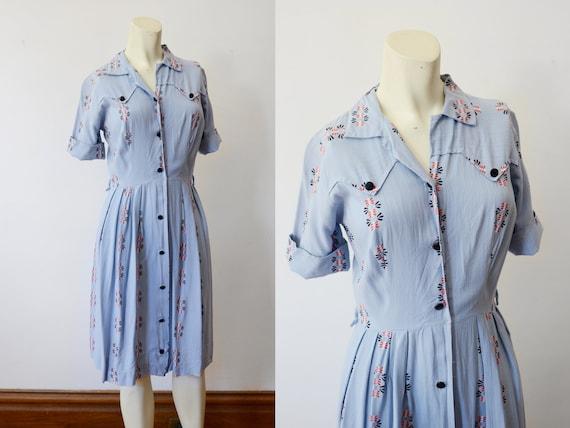 1950s Rayon Blue Shirtdress - XS