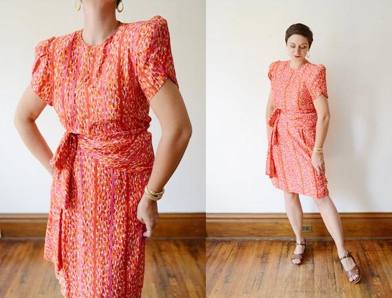 Francesca Damon Orange Silk Dress - S