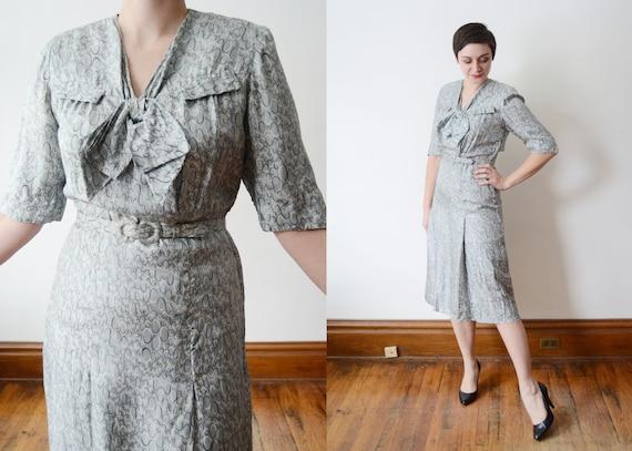 1940s Blue Silk Dress - M