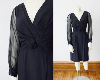 1960s Black Cocktail Dress - S