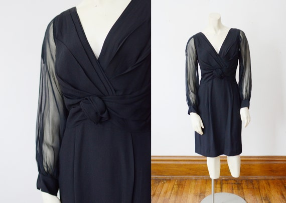 1960s Black Cocktail Dress - S