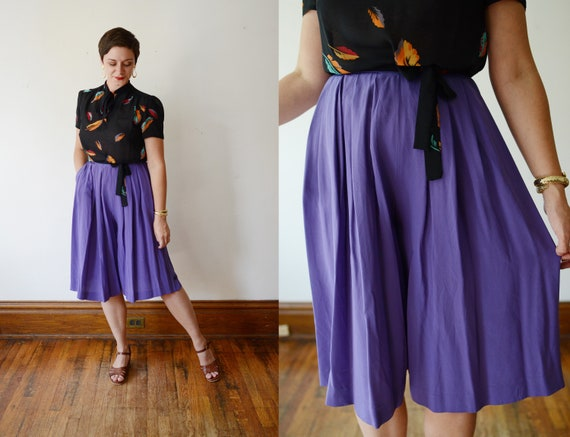 1980s Purple Silk Culottes - M