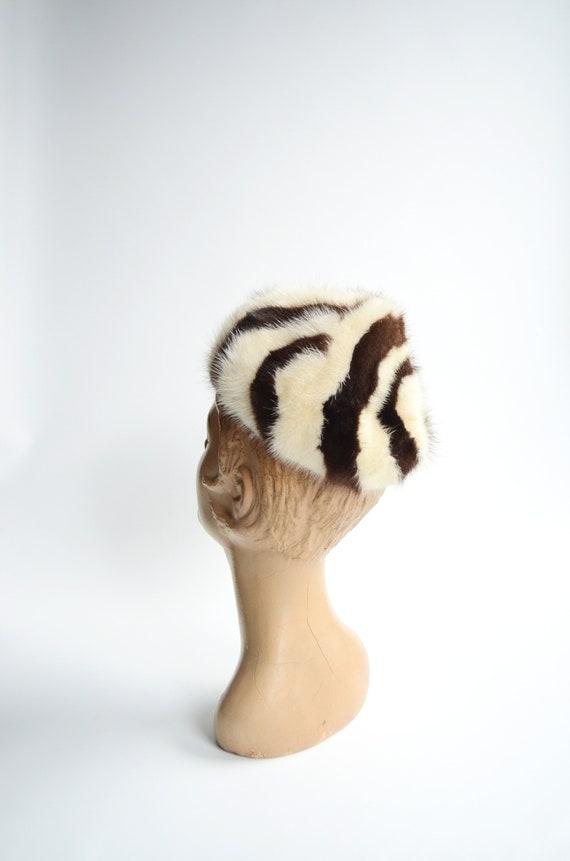 50s/60s Striped Fur Hat