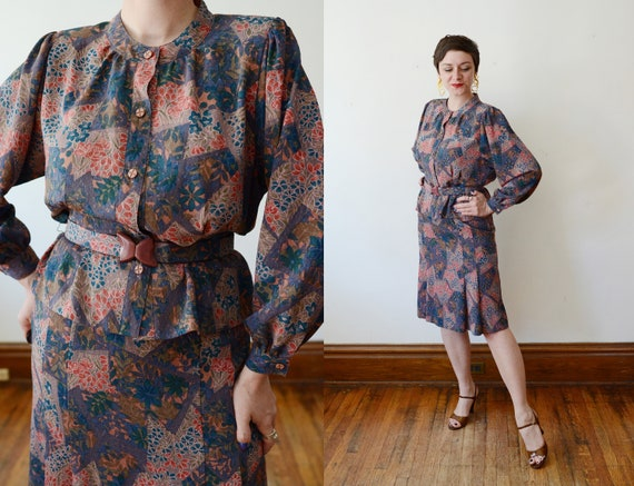 1990s Floral Blouse and Skirt Set - M