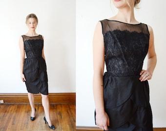 1950s Black Organdy Petal Cocktail Dress - XS