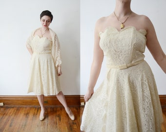 Frank Starr 1950s Cream Lace Strapless Dress - M