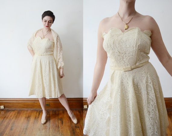 Frank Starr 1950s Cream Lace Strapless Dress - M